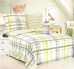 Povlečení bavlněné na 2 postele 4 dílné šedo-zelené káro