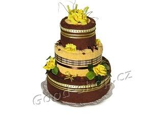 Textilní dort čokoládový 3patrový (2+2) hnědá-žlutá