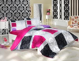 Povlečení bavlna Sedef 70x90, 140x200 cm růžová-šedá