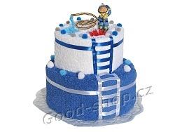 Textilní dort pro hasiče 2patrový (1os.+1ruč.) bílá - modrá