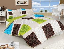 Povlečení bavlna Sedef 70x90, 140x200 cm zelené