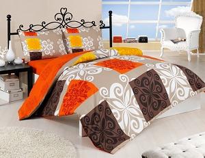 Povlečení bavlna Sedef 70x90, 140x200 cm oranžová-béžová