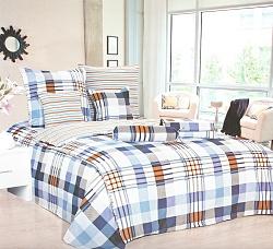 Povlečení bavlněné na 2 postele 4 dílné kostka modro-oranžová