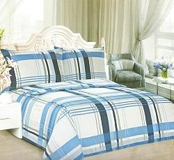 Povlečení krepové na 2 postele 4 dílné kostka modrá