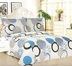 Povlečení bavlněné na 2 postele 4 dílné kruhy modré