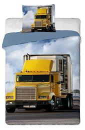 Povlečení Kamion 140x200,70x90 cm žlutý