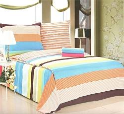 Povlečení bavlněné na 2 postele 4 dílné pruh oranžový