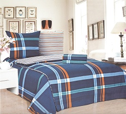 Povlečení bavlněné na 2 postele 4 dílné kostka tm.modrá