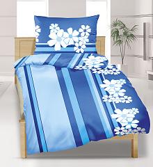 Povlečení krepové prodloužené 140x220,70x90 cm modrý květ