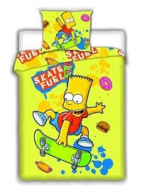 Povlečení Simpsons - Bart Skate yellow 140x200,70x90 cm