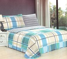 Povlečení bavlněné na 2 postele 4 dílné kostka sv.modrá