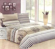Povlečení bavlněné na 2 postele 4 dílné šedo-zelená