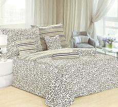 Povlečení bavlněné na 2 postele 4 dílné leopard černo-bílá