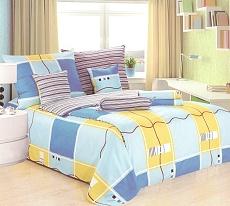 Povlečení bavlněné na 2 postele 4 dílné modrá-žlutá