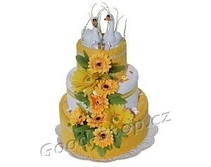 Textilní dort 3P-10 svatební 3patrový (2+2) žlutá-bílá