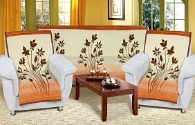 Přehoz na sedací soupravu 3+1+1 béžovomedové květy
