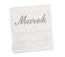 Ručník se jménem - pruh - bílá 50x100 cm bílá
