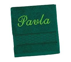 Ručník se jménem - pruh - tm.zelená 50x100 cm tm.zelená