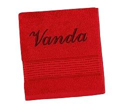 Ručník se jménem - pruh - červená 50x100 cm červená
