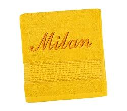 Ručník se jménem - pruh - žlutá 50x100 cm žlutá