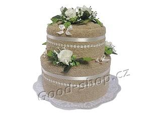Textilní dort 2P-82 2patrový (2xruč.) béžový