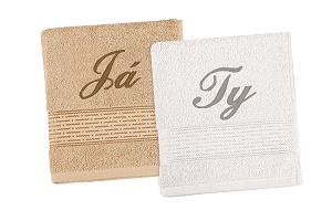 Vyšívaný set Já,Ty - ručníky 2ks 50x100 cm (Já) tm.béžová/ (Ty) bílá