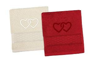 Vyšívaný set Srdce - ručníky 2ks 50x100 cm smetanová/bordová