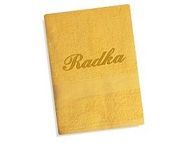Ručník se jménem - žlutá 50x100 cm žlutá