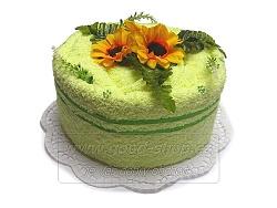 Textilní dort 1P-7 1patrový žlutozelený
