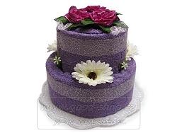 Textilní dort 2P-6 2patrový (2ruč. a 1osuš.) fialový