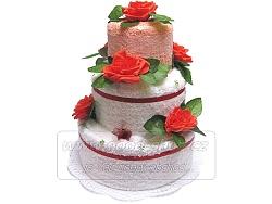 Textilní dort 3P-1 3patrový (2+2) lososovo-bílý
