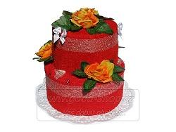 Textilní dort 2P-3 2patrový (2xruč.) červený