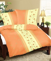 Povlečení flanelové 140x200,70x90 cm kvítek oranžový
