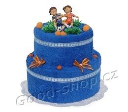 Textilní dort pro fotbalistu 2patrový (1os.+1ruč.) modrý