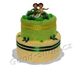 Textilní dort pro fotbalistu 2patrový (1os.+1ruč.) zelená-sv.žlutá