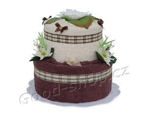 Textilní dort 2P-C3 2patrový (2xruč.) krémová-čokoládová