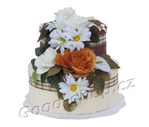 Textilní dort 2P-C2 2patrový (1os.+1ruč.) čokoládová-krémová