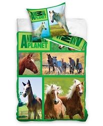 Povlečení Animal Planet - Koně na louce 70x80, 140x200 cm