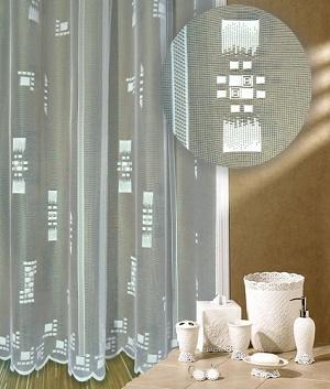 Záclona Kostičky výška 140 cm bílá