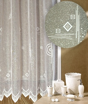 Záclona Ornamenty bílé výška 200 cm bílá