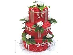 Textilní dort 3P-5 3patrový (2+2) červená-masová