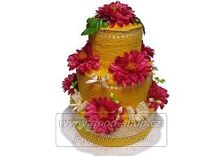 Textilní dort 3P-6 3patrový (2+2) žlutý