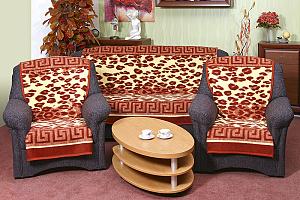 Přehoz na sedací soupravu 3+1+1 leopard terra s bordurou