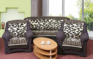 Přehoz na sedací soupravu 3+1+1 leopard hnědý s bordurou