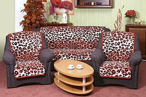 Přehoz na sedací soupravu 3+1+1 leopard cihlový