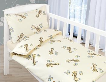 Dětské povlečení bavlna 90x135,45x60 cm béžová žirafa