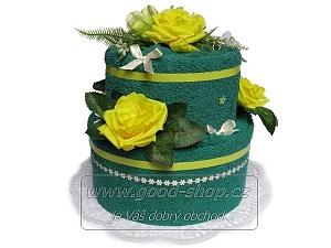Textilní dort 2P-7 2patrový (1os.+1ruč.) tm.zelený