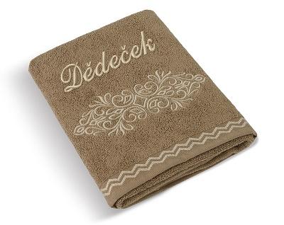 Froté ručník Dědeček 50x100 cm hnědý ornament