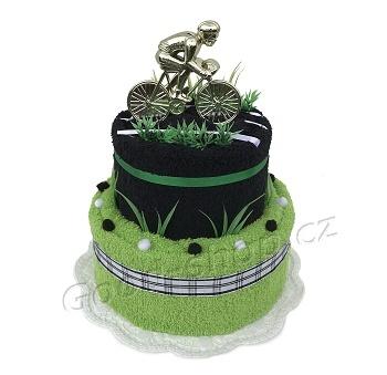 Textilní dort pro cyklistu 2patrový černá-zelená
