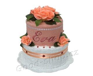 Textilní dort se jménem 2patrový lososová-bílá